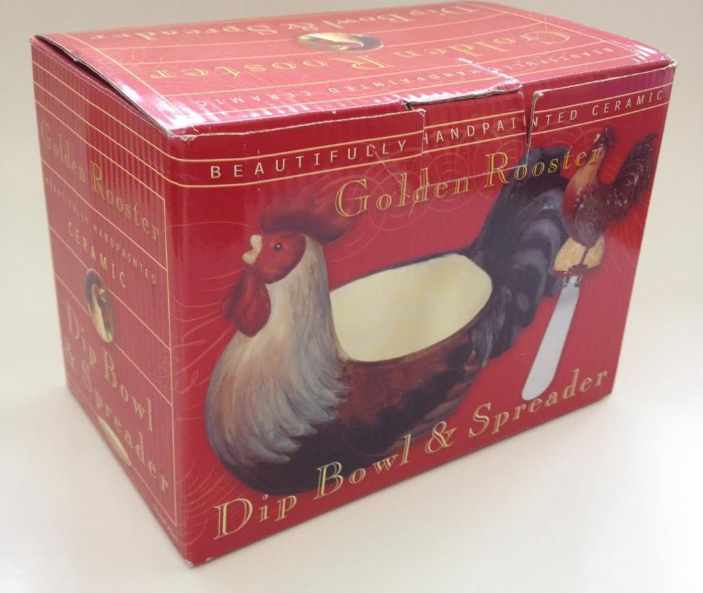 Golden-Rooster-Dip-Bowl-and-Spreader-Certified-Intl-Corp-by-Geoffrey-Allen